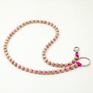 Ina Seifart Schlüsselanhänger lang natur Perlen matt