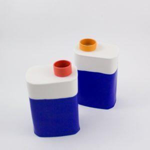 "Eric Hibelot Vase ""Kanister"" blau-orange"