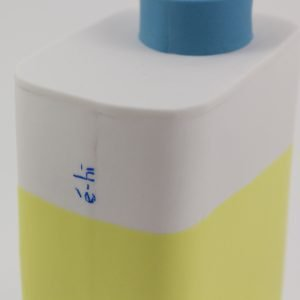 """Eric Hibelot Vase """"Kanister"""" gelb-hellblau"""