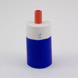 Eric Hibelot Vase H 13cm blau-rot