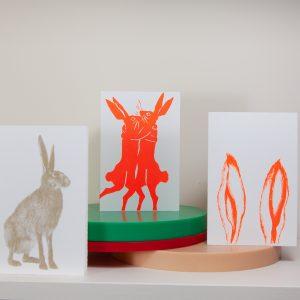Hasenpaar Siebdruckkarte von Zwölfer