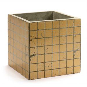 Betontopf Würfel Gold