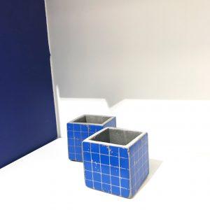 Betontopf Würfel klein Blau
